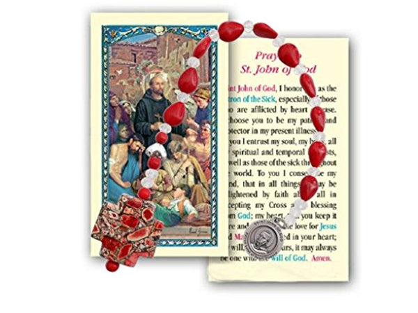 John of God Patron of Those with Heart Disease Garnet Teardrop Bead Chaplet with Silver Plated Findings Marble Cross and Blessed Prayer Card