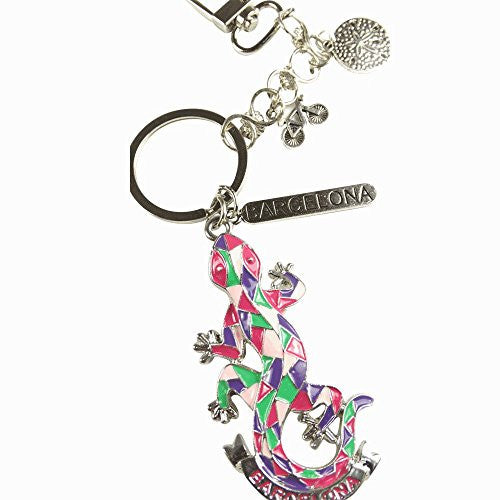 Gaudi Style Gecko Keychain Zipper Pull Porcelain Enamel Glass Detail and Satin Nickel keyring