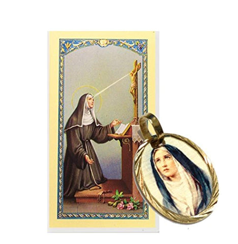 Gifts by Lulee, LLC Saint Rita of Cascia Patron of Abused Women Gold Overlay Medal Blessed Prayer Card