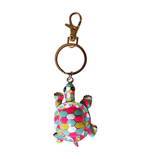 Gaudi Style Turtle Keychain Zipper Pull 14k Gold Plated over Anodized Base Porcelain Enamel Detail