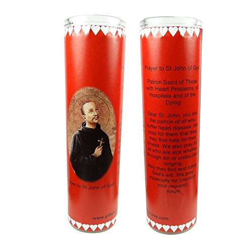 Saint John of God Patron of Heart Patients, Hospitals and Hospital Workers Set of 2 Candles