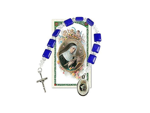 Saint Rita Chaplet Blue Crystal Squares and Round Faceted Crystal Beads Blessed Silver Overlay Medal