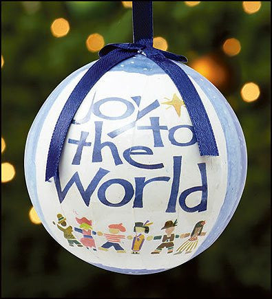 Joy to the World Blue Christmas Tree Ornament