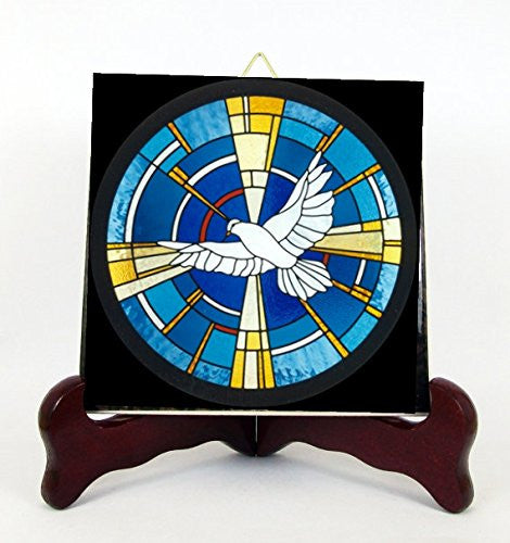 The Holy Spirit Porcelain Tile Plaque Ready for Hanging Interior Exterior Available in Two Sizes and Two Designs