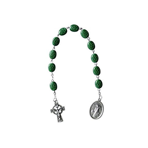 Saint Patrick Saint Brigid Irish Chaplet Green Glass Beads and a Blessed Prayer Card Free Celtic Cross Iron on