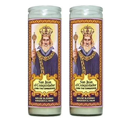 Juan el Conquistador John the Conqueror House Blessing 2 Candle Set with Prayer in the Back