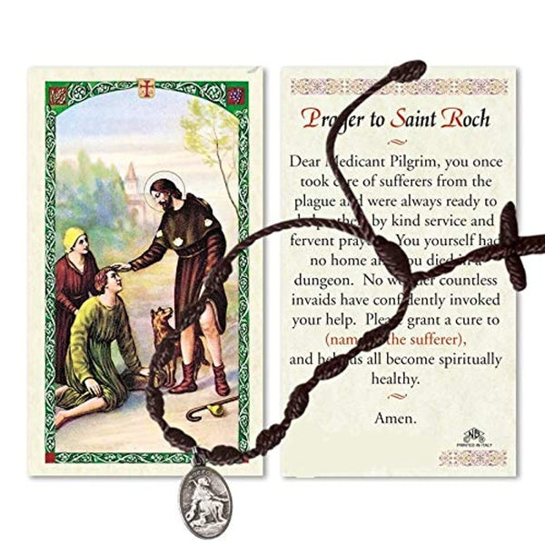 Saint Roch Saint Rocco Patron of Those with Contagious Diseases Knotted Adjustable Rosary Bracelet with Silver Plated Blessed Medal and Prayer Card