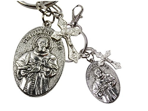 Saint Francis and Pope Francis Double Sided Silver Oxidized Medal Keychain Zipper Pull with Lobster Clasp and Dangling Crucifix