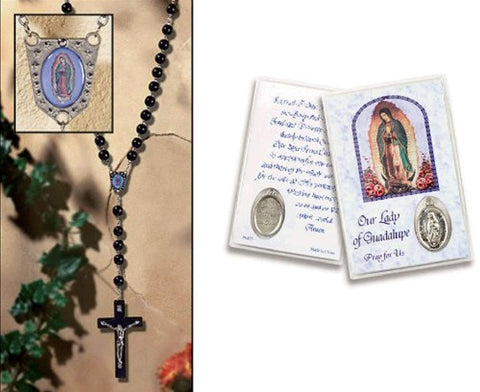 Our Lady of Guadalupe Wall Rosary Includes a Holy Card with a Silver Oxidized Medal Blessed by His Holiness