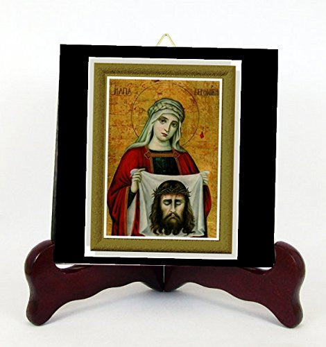 The Holy Face Saint Veronica Contemporary Style Porcelain Tile Plaque Ready for Hanging Interior Exterior Available in Two Sizes (6 x 6)