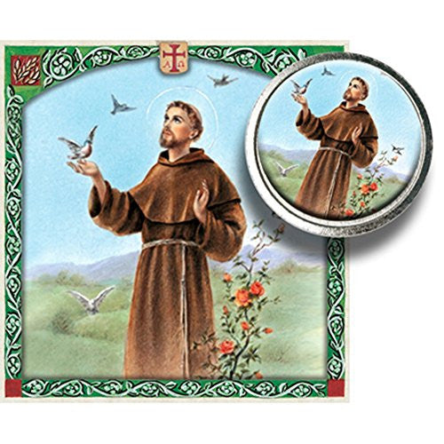 Saint Francis of Assisi Color Image Silver Tone Coin in Clear Folder with Blessed Prayer