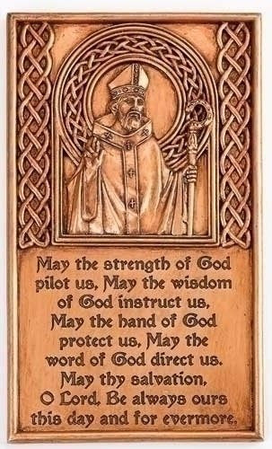 St Saint Patrick Bronze Wall Plaque with Prayer for the Faithful Etched in Front Includes a Prayer Card Blessed by His Holiness