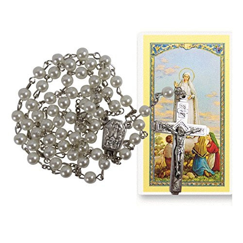 Our Lady of Fatima Majorca Pearls Rosary with Silver Plated Findings and Fatima Holy Water Centerpiece Blessed Prayer Card