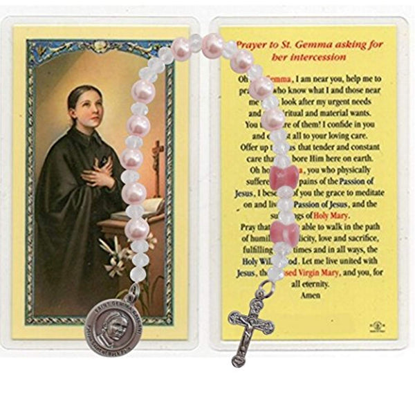 Gemma Galgani Patron of Those with Back Pain Pink Crystal Round and Hourglass Mauve Beads Chaplet with Silver Plated Findings and Blessed Prayer Card