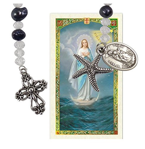 Our Lady Star of the Seas Stella Maris Cultured Freshwater Pearls Holy Chaplet with Silver Oxidized Findings and Blessed Laminated Italian Holy card with Gold...