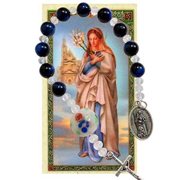 Saint Genevieve Patron of Paris Chaplet or Pocket Rosary Lapis Lazuli Round Beads and Large Disc Clear Millefiori Pater Noste with Silver Plated Crucifix and Medal Includes Blessed Prayer Card
