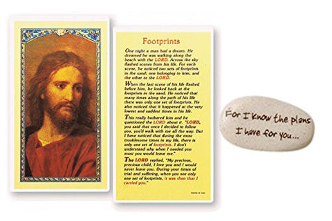 "Inspirational Pocket Token Stone 8 Styles to Choose From Free Blessed Prayer Card ""Footprints"""