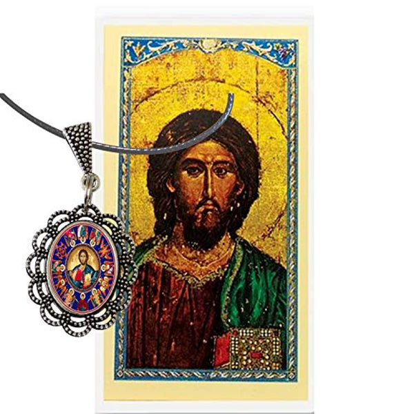 Christ Pantocrator Christ in Majesty Silver Plated Oval Bezel Pendant Base Tray Cameo Cabochon Setting Enhanced Bale Black Corded Adjustable Mariners Necklace with Cabochon Color Image Blessed Card
