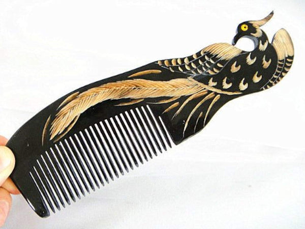 Hand Carved Anti Static Natural Horn Hair Detangling Comb with Handle 7. (Phoenix)