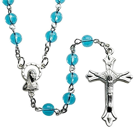 Italian Light Blue Glass Bead Rosary Blessed by His Holiness Pope Francis