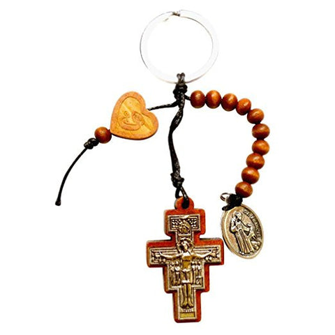 San Damiano Cross Keychain and Rosary & Free Blessed Silver Oxidized Medal of St Francis & St Anthony