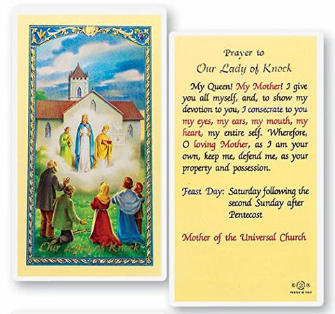 Prayer to Our Lady of Knock Queen of Ireland Laminated Prayer Card Blessed By Pope Francis