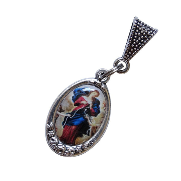 Mary Undoer Untier of Knots Silver Plated Medal Imp Italy Includes a Chain Necklace Blessed Prayer Card