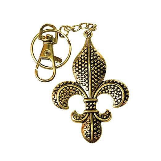 Fleur de Lis Textured Gold or Silver Overlay Charm with Stainless Steel Keychain or Zipper Pull Designer Inspired (gold)