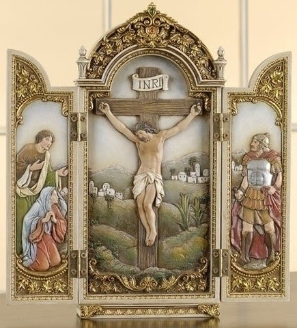 "Crucifixion Triptych Scene Altar 12"" Tall Free Prayer Card ""The Cross in My Pocket"" Blessed By Pope Francis"