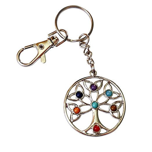 Tree of Life Keychain Filigreed Style with Color Glass Beads Zipper Pull and Satin Nickel keyring - chain