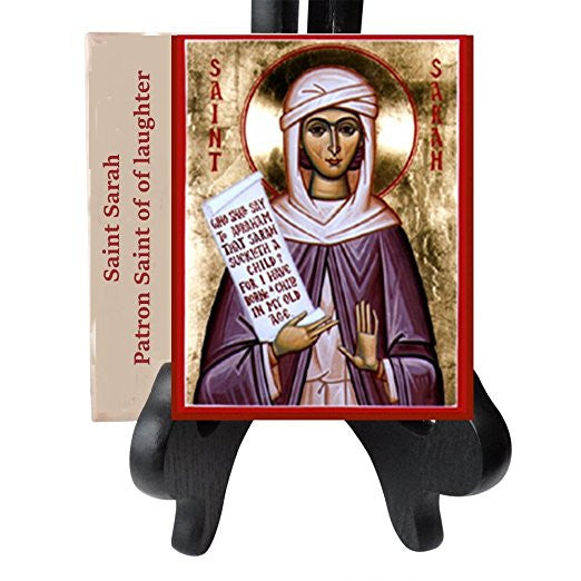 Saint Sarah Sarah-la Kali Patroness of Gypsies and Laughter Porcelain Tile Plaque Ready for Hanging Three Sizes Available (4 x 4)