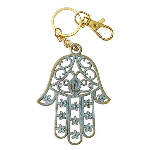 Hamsa or Hand of Fatima Filigreed Style Verdigris Pendant Keychain Zipper Pull Anodized 14k Gold Plated