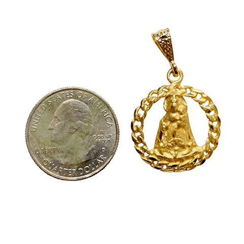 Caridad Del Cobre Medal Pendant Charm Gold Overlay with Anodized Base About the Size of a Nickel