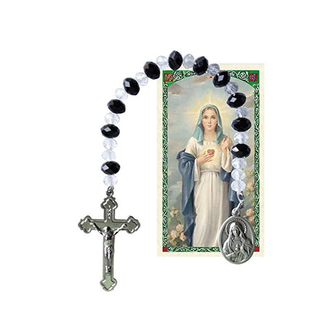 Sacred Heart of Mary Chaplet Clear Crystal and Jet Lignite Beads and Silver Oxidized Medal and Crucifix and Blessed Prayer Card