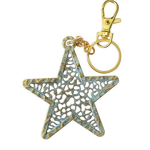Verdigris Filigreed Star Pendant Keychain Zipper Pull Designer Inspired