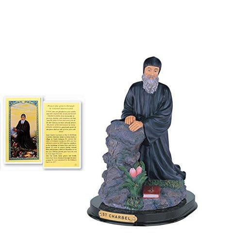Saint Charbel Makhlouf Patron of Lebanon Statue with Wood Base Includes Blessed Prayer Card
