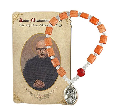 Saint Maximilian Kolbe Chaplet Marbled Opal Orange Crystal Squares and Round Faceted Crystal Beads Blessed Silver Overlay Medal