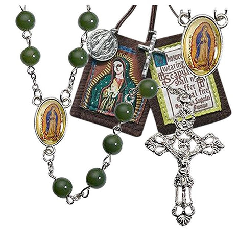 Our Lady of Guadalupe Green Glass Beads Rosary Includes a Free Brown Scapular Blessed By Pope Francis