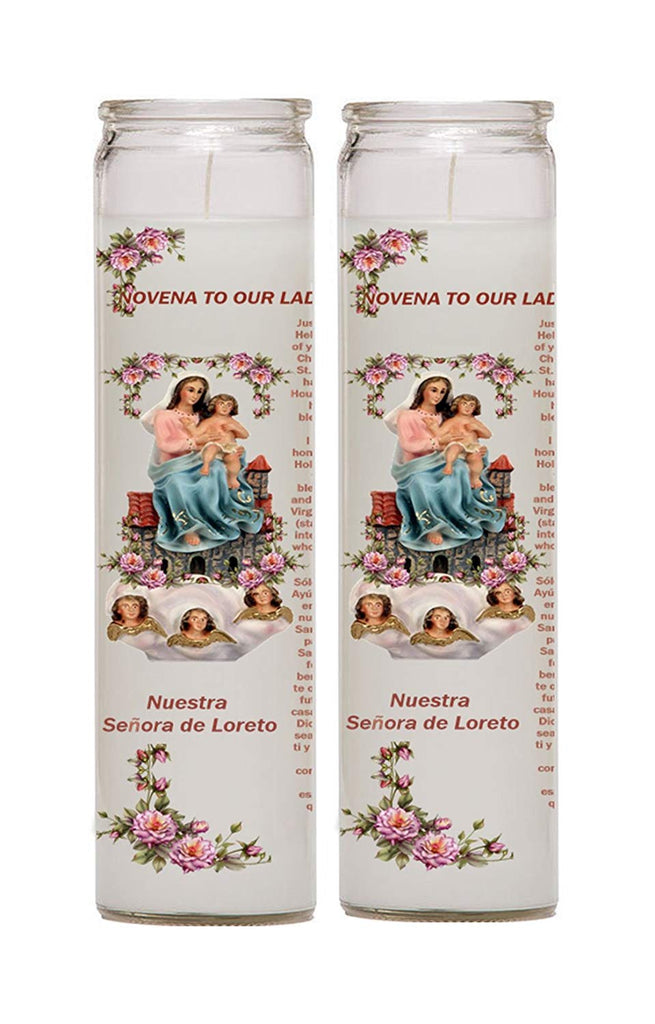 Our Lady of Loreto Loretto Senora de Loretto Set of Two or 4 Candles Veladoras Set de 2 o 4 (2)