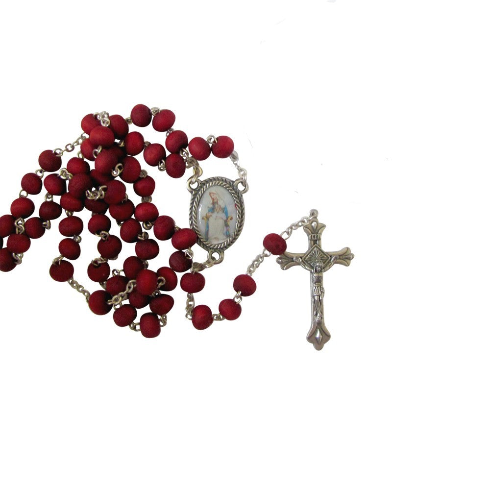 Our Lady of Divine Providence Rose Scented Rosary Free Prayer Card Blessed By Pope Francis
