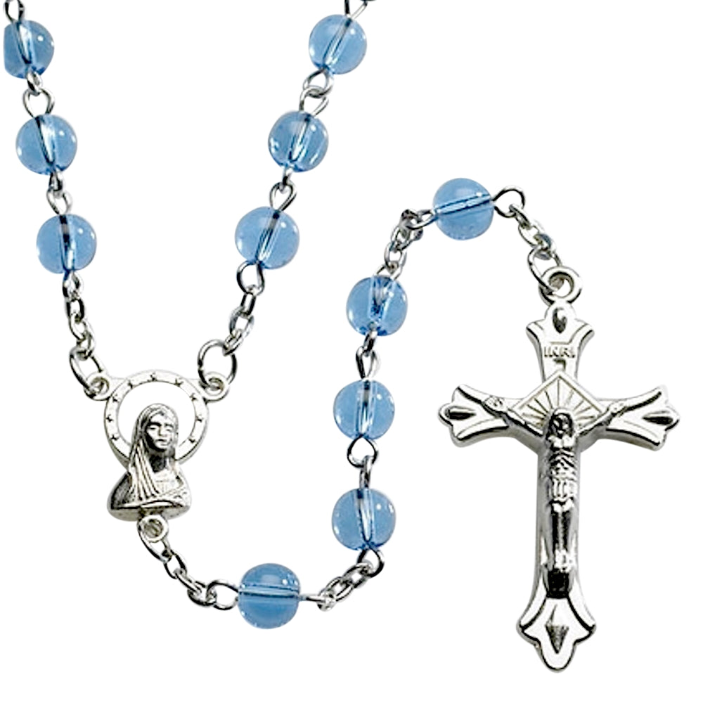 Italian Dark Blue Glass Bead Rosary Blessed by His Holiness Pope Francis