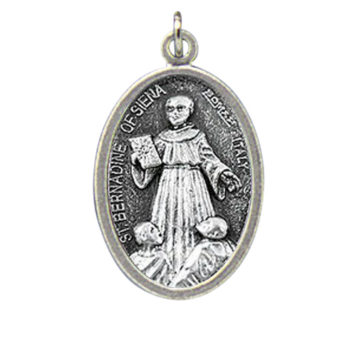 Blessed By Pope Francis St. Bernardine of Siena Patron of Those Who Suffer From Respiratory Ailments Pray for Us Medal Silver Oxidized