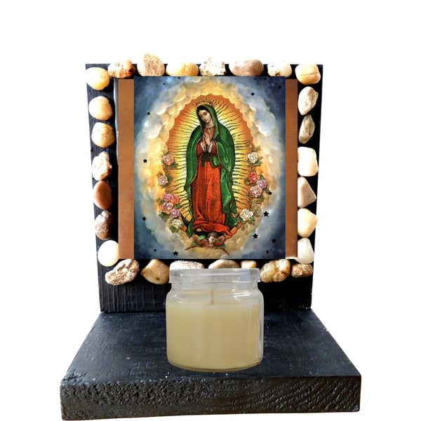 Our Lady of Guadalupe Queen of Mexico and Patron of the Americas Porcelain Tile Plaque Ready for Hanging Three Sizes Available Prayer Card Blessed by His Holiness (4 X 4)