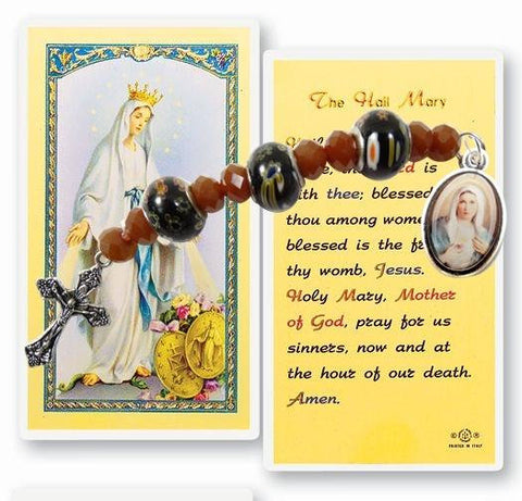 Chaplet of  The Immaculate Heart of Mary. Includes a Laminated Italian Holy card with Gold Accents