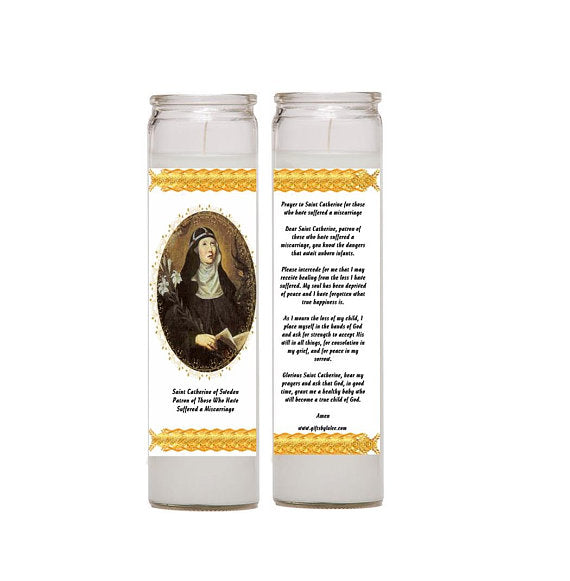 Set of Two Candles Prayer Comfort for Those Who Have Suffered a Miscarriage or prayer for avoiding miscarriages