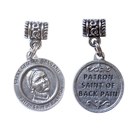 Saint Gemma Galgani Patron of Students Pharmacist & Suffering Back Illness Silver Oxidized Medal Includes a Chain Necklace Prayer Card