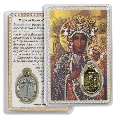 Our Lady of Czestochowa Laminated Holy Card  with Medal Set 0f 5