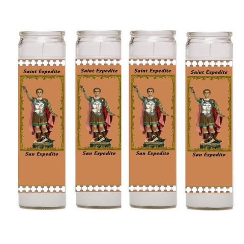 Saint Expedite San Expedito Set of 2 or 4 Candles  Prayer in English and Spanish Oracion en Ingles y Espanol  Prayer Card