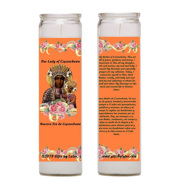 Our Lady of Czestochowa Set of 2 or 4 Candles Laminated Prayer Card Catholic Virgin of Poland