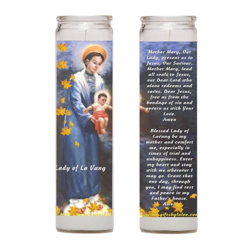 Our Lady of La Vang Catholic Virgin of Vietnam  Set of 2 or 4 Candles or  Laminated Prayer Card or Medal